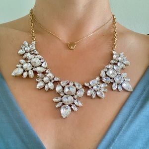 Jewelry - Faux Diamond and Gold Statement Necklace